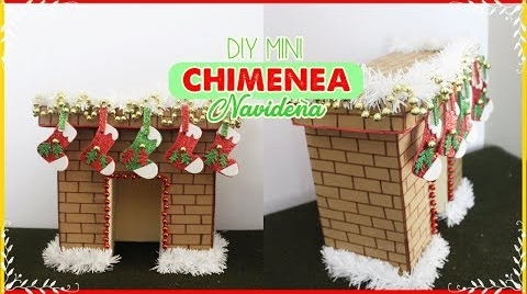 DIY MINI chimenea navideña // hecha con carton // Fireplace #TutorialesNavideños