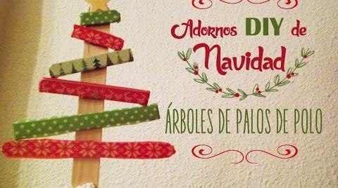 Manualidades:Adornos DIY de Navidad, árboles con palos de polo #TutorialesNavideños